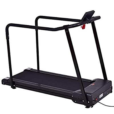 Goplus Electric Recovery Treadmill, Jogging Walking Machine for Seniors Elders, with Extra-Long Handles