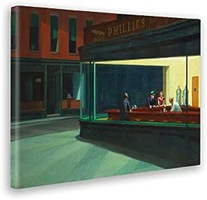 Giallo Bus - Cuadro - Impresion En Lienzo - Edward Hopper - I Nottambuli - 70 X 100 Cm: Amazon.es: Hogar