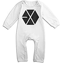 NOXIDN SMWI Baby Infant Romper Kpop EXO Logo Long Sleeve Bodysuit Outfits Clothes,White