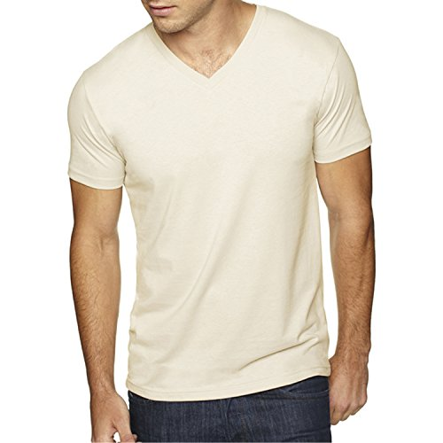 Next Level Apparel 6440 Mens Premium Fitted Sueded V-Neck Tee - Natural, Small
