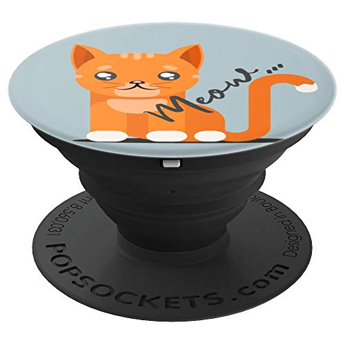Small Orange Tabby Kitty Cat With Meow In Black On Blue Grey PopSockets Grip and Stand for Phones and Tablets