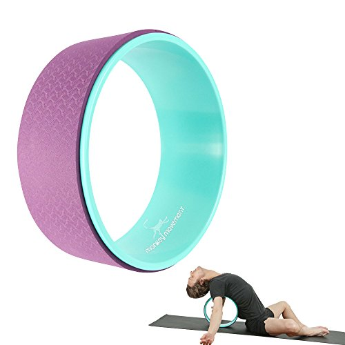 Yoga Wheel Roller - Dharma Tool for Back Pain Relief, Hip & Psoas Release, Balance Training, Stretch & Strength Poses & Muscle Roll - Sturdy Design, Slim & Portable, Mat Foam for Comfort - Great Gift