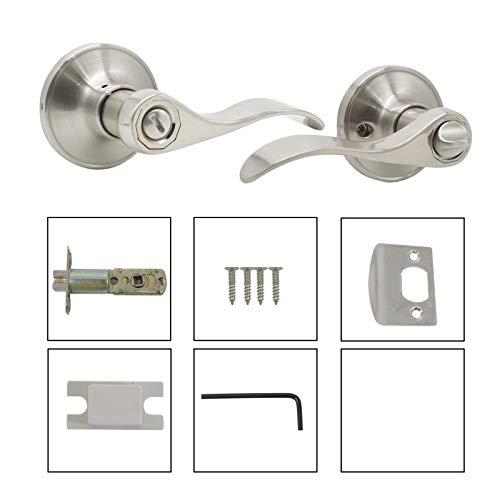 8 Pack Privacy Door Lock Lever Keyless Door Lockset Handleset ;Right/Left Handed Reversible;Satin Nickel Door Levers Hardware withour Key for Bathroom and Bedroom -Door Lever 12061 by Probrico (Image #4)