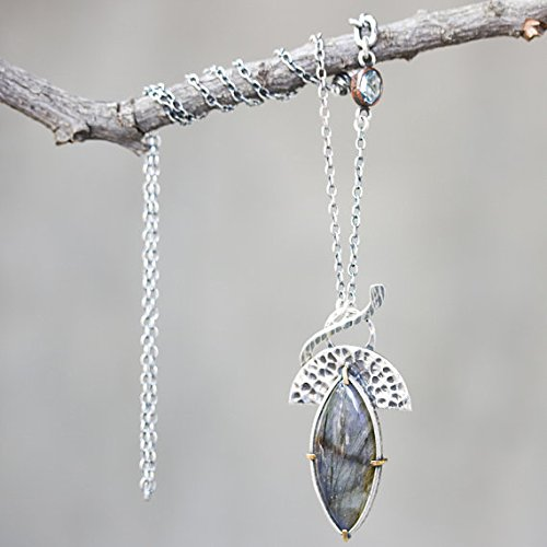Marquis Labradorite necklace in silver bezel and brass prongs setting with silver fan hammer texture and blue topaz secondary,silver - Labradorite Marquis