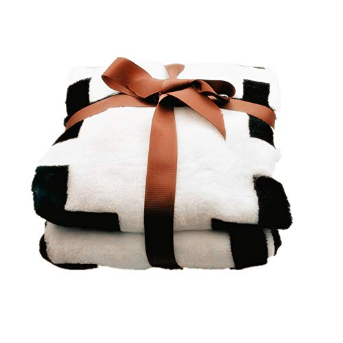CHICIEVE Baby Blanket Black and White Swiss Cross Toddler Blanket Boy Girl Unisex