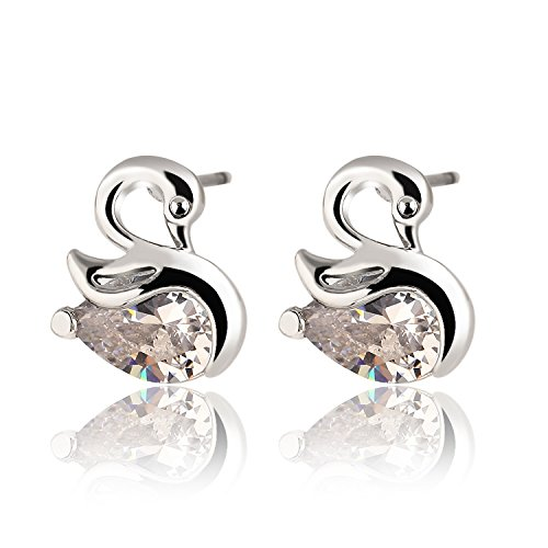 [Slyq Jewelry Classic Animal Swan Crystal Stud Earring Alloy Plated Silver Gold Heart Crystal Earring Fashion Jewelry Best Women] (Minnie Mouse Nose)