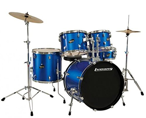 Ludwig Accent Drive Blue 5-Piece Drum Set Bundle with Vic Firth American Classic 5A Drum Sticks and FastTrack Drum Method (Book 1)