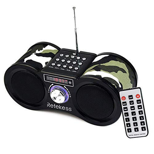 Retekess V113 FM Radio Boombox Stereo Digital MP3 Speaker with Remote Control Support SD Card USB AUX Input Rechargeable Battery (Camouflage)
