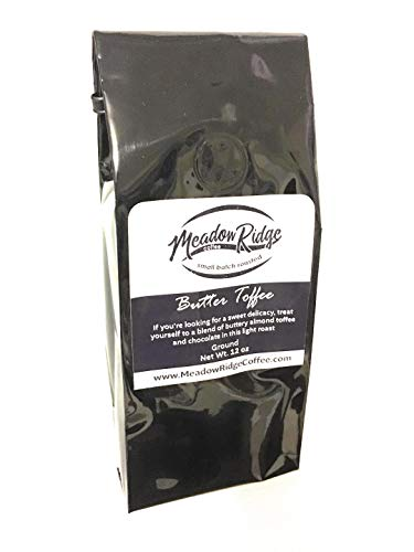 Meadow Ridge Coffee Butter Toffee Flavored 100% Arabica Coffee, Medium Roast - 12 Ounce Ground