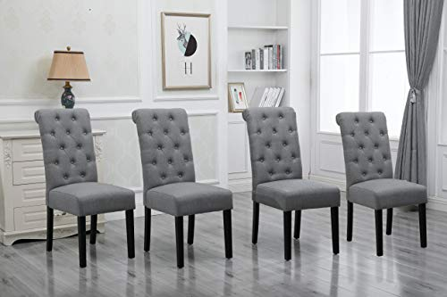HomeSailing Comfortable Armless Dining Room Chairs Only Set of 4 Grey Fabric Upholstered High Back Kitchen Chairs Side Chairs for Bedroom Living Room Padded Chairs Wood Black Legs Chairs (Gray)