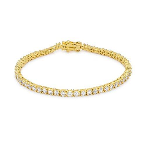 WildKlass Goldtone Finish Victorian Cubic Zirconia Tennis 7 Inch Bracelet