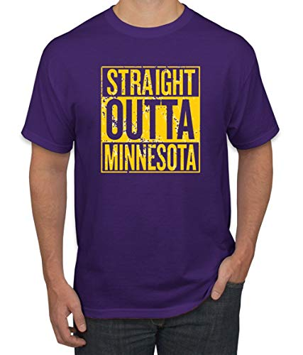Straight Outta Minnesota MIN Fan | Fantasy Football | Mens Sports Graphic T-Shirt, Purple, Large