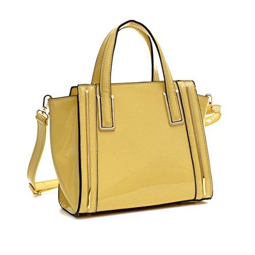 Faux Leather Satchel Handbag - Dasein Fashion Designer Faux Leather Satchel Handbag Tote Shoulder Bag Purse For Women with Strap