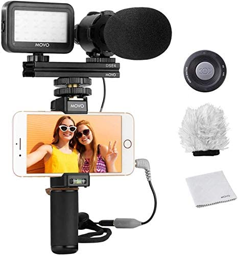 Movo Smartphone Vlogging Kit V7 with Grip Rig, Stereo Microphone, LED Light and Wireless Remote – YouTube, TikTok, Vlogging Equipment for iPhone/Android Smartphone Video Kit