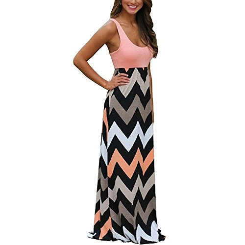 Womens Zig Zag Scoop Neck Wave Striped Tank Maxi Long Dress (Large, Pink)