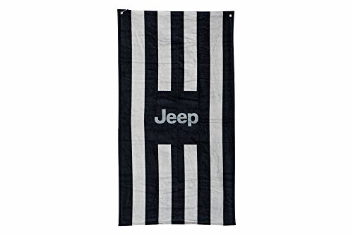 Jeep Black And Gray Striped Beach Seat Towel Cover With Jeep - Towel Logo