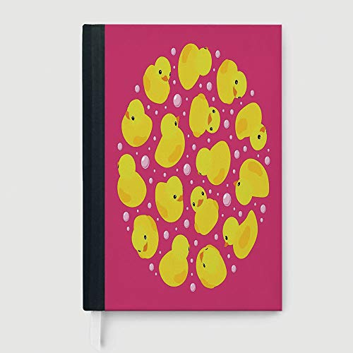Thick Notebook/Journal,Rubber Duck,Business Notepad Daolin Paper,Fun Baby Duckies Circle Artsy Pattern Kids Bath Toys Bubbles Animal Print,96 Ruled Sheets,B5/7.99x10.02 in