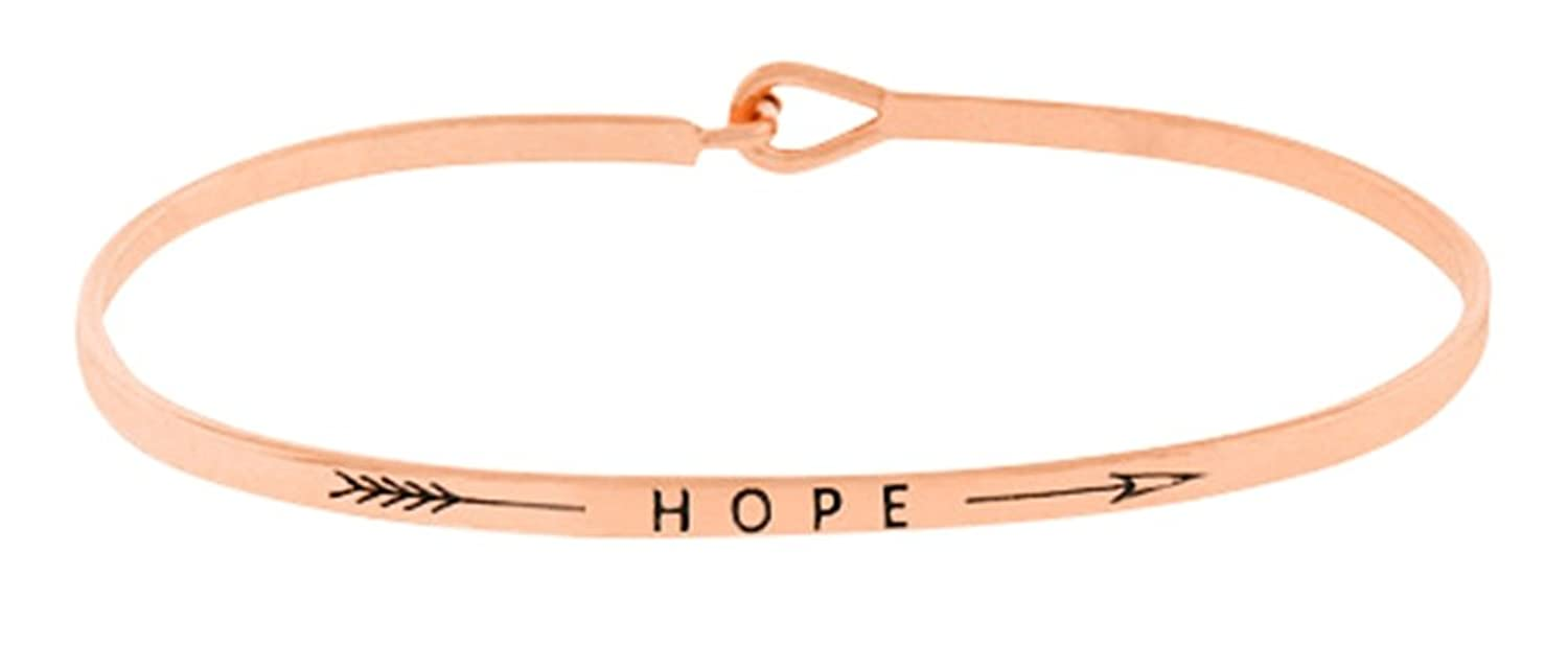 """Inspirational """"HOPE"""" with Arrow Rose Gold Tone Engraved Thin Brass Bangle Hook Bracelet for Best Friends, BFF Besties"""