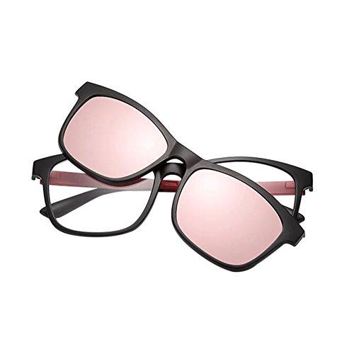 Magnet With use Dual Meijunter Full Pink New soleil de Clip Polarisé EyeLunettes Frame Lunettes Lunettes qXXxS7w
