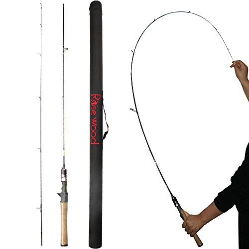 RoseWood 1.8m (602) Ultralight Spinning Rod Soild Tip Baitcast Fishing Rods UL Slow Action For Freshwater Saltwater Lightweight Ultra Light Casting Poles Lure Fishing With Case (Casting Rod)