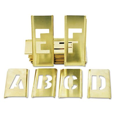 7520002699012, SKILCRAFT Stencil Set, A-Z Set/0-9, Brass, 45/Set by AbilityOne