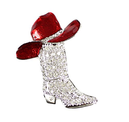 EchoMerx Crystal Encrusted Cowboy Boot and Hat Brooch Pin or Pendant, Silver and Red (Boots Hat)