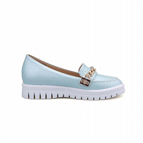Latasa Womens Fashion Chains Slip-on Flats Loafers Shoes Light Blue QTBbaXJYP
