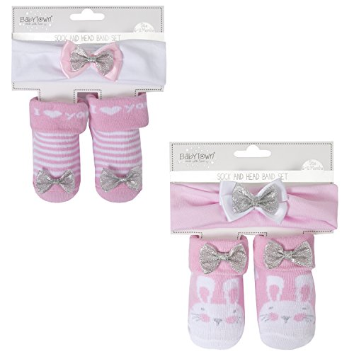 BabyTown Baby Girls Novelty Print Socks Set - In Organza Bag Stripe and Bunny 0-6 ()