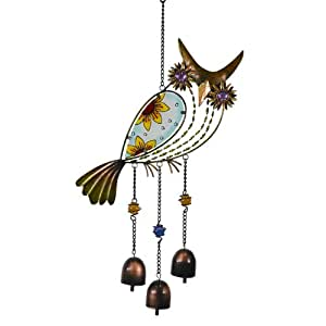 Stained Glass Owl Wind Chime 3 Bells Vintage Style