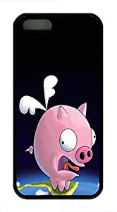 iPhone 5 5S Case Funny Looking Pig Animal TPU Custom iPhone 5 5S Case Cover White