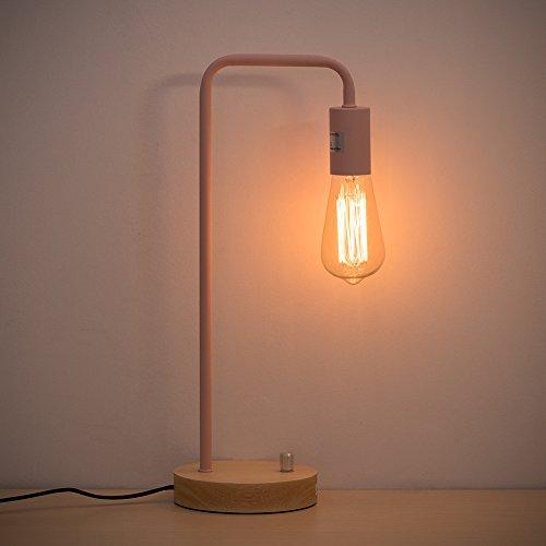 30 Kids Room Decor - HAITRAL Desk Lamp Industrial Table Lamp Wooden Night Light for Office, Bedroom, Living room, Kids Room Pink (Not Bulb)