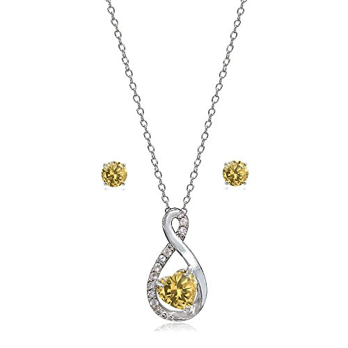 (Lovve Sterling Silver Citrine & White Topaz Infinity Heart Necklace Earrings Set)