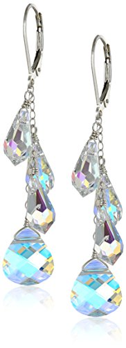 Swarovski Briolette Drop (Sterling Silver Swarovski Elements Crystal Aurora Borealis Multi-Teardrop and Briolette Earrings)