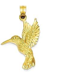 ICE CARATS 14k Yellow Gold Hummingbird Pendant Charm Necklace Bird Fine Jewelry Gift Set For Women Heart