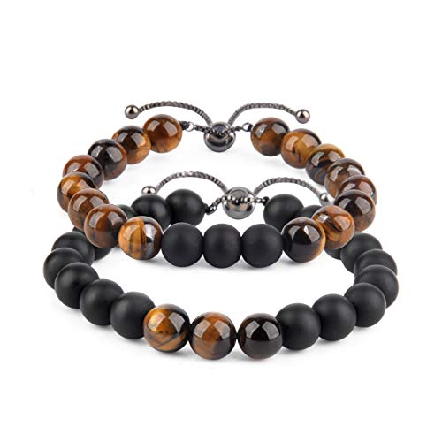 Believe London Distance Bracelets with Jewelry Bag & Meaning Card | Strong Elastic | Friendship Relationship Couples His Hers | Black Agate Onyx White (Adjustable Length Tiger Eye & Agate)