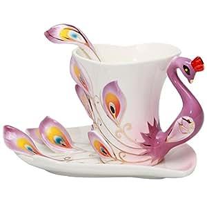 Yosou Home Personalized Unique Custom Design Porcelain Tea Cup and Saucer with Spoon Set Coffee Cup Mug 3D Peacock Theme Romantic Creative Gift -Purple