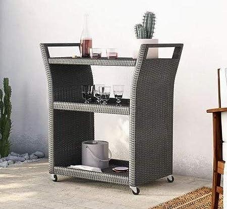 Amazon.com - Etha- Grey Resin Wicker Two Open Shelves-Serving Carts ...