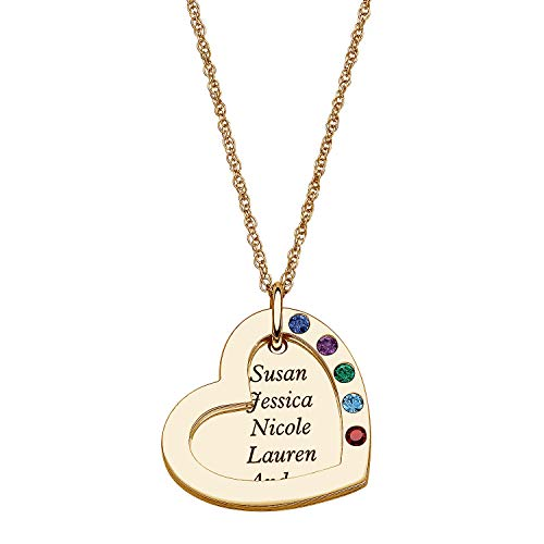 LONAGO Personalized Family Name & Birthstone Necklace Custom Double Heart Engraved Pendant Friendship Generation BFF Jewelry Gift for Mom Women (Gold-Plated-Brass) ()