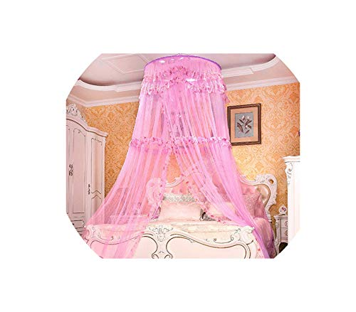 Europe Style Hung Dome Mosquito Net Circular Princess Bed Mosquito Netting Home Textile Adults Round Curtain Tent Mesh Folding,hanshixiaohua zi,1.35m (4.5 feet) Bed