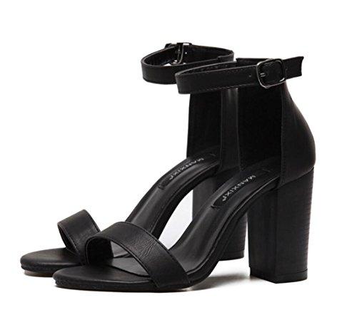 Baja Gruesos La Black Artificiales Mujeres Boca Zapatos Tacones Sandalias Palabra Linyi Las Pu De Negros Hebilla 6wq8B