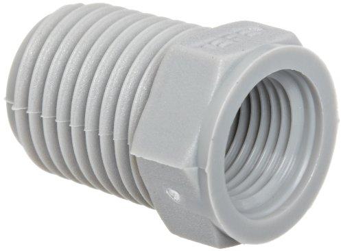 Tefen Nylon 6/6 Pipe Fitting, Bushing, Gray, 1/2