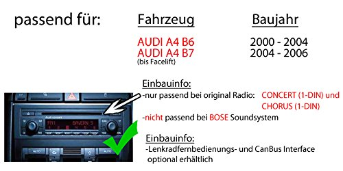 1-DIN PKW KFZ 12V Einbauzubeh/ör JUST SOUND best choice for caraudio EINBAUSET f/ür Audi A4 B6 B7 Autoradio Radio Alpine UTE-200BT Bluetooth USB MP3
