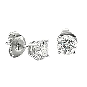 14k White Gold NATURAL Diamond Stud Earrings ( 0.60 Carat )