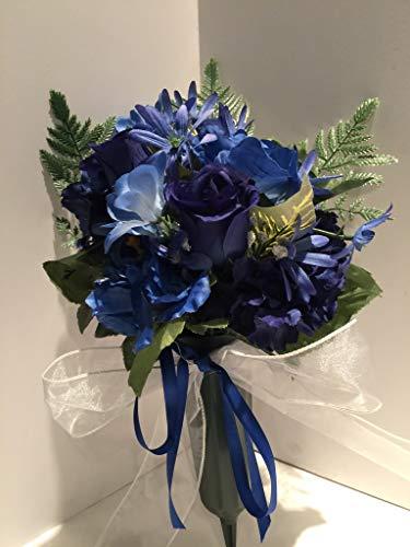 GRAVE DECOR - CEMETERY MARKER - FUNERAL ARRANGEMENT - FLOWER VASE - BLUE AND BLUE & WHITE TWEEDIA, DARK BLUE ROSES, DARK BLUE HYDRANGEAS, AND BLUE PEONIES