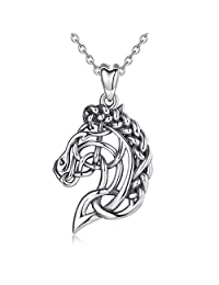 CELESTIA Celtic Horse Head Necklace for Women Sterling Silver Pendant Jewelry Horse Gifts for Girls Horse Lovers - 18 Inch Chain