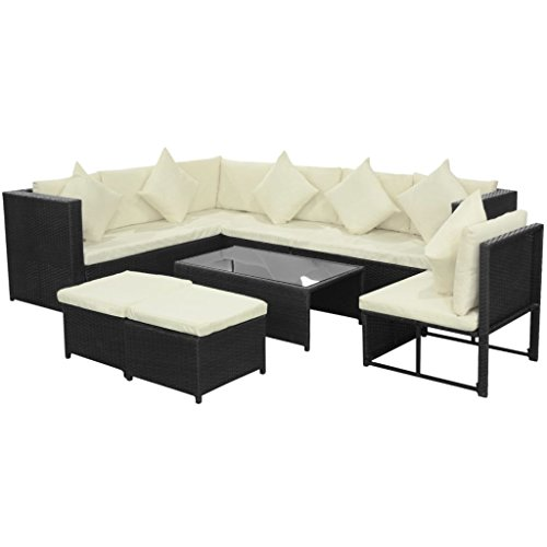 Amazon.com: Daonanba Durable Garden Sofa Set Poly Rattan ...