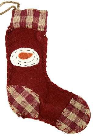 Set of 6 Hand Stitched Holiday Homespun Stocking Ornaments with Sweet Snowman Face