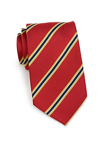 - Bows-N-Ties Men's Necktie British Regimental Striped Silk Matte Tie 3.25 Inches (Cherry Red and Yellow)