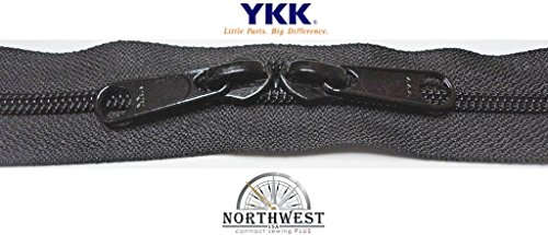 YKK #8 Zipper coil chain with 2 sliders per yard. Sold in 5-yard lots. Please see our other listing for size 10 & size 5. (5 yards & 10 black sliders, Black)