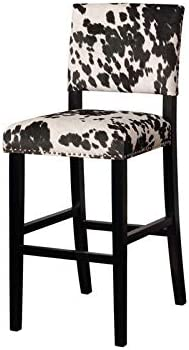 Riverbay Furniture Cow Print Bar Stool in Black